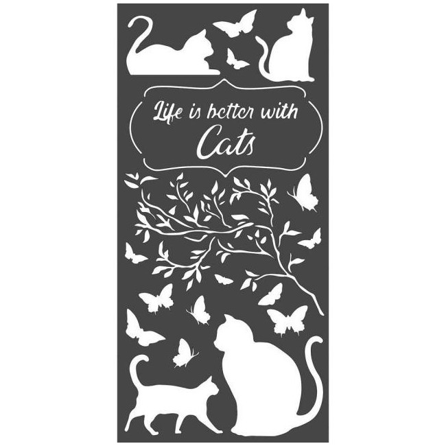 "Stencil 6"" x 9"" Orchids and Cats Life Is Better With Cats"
