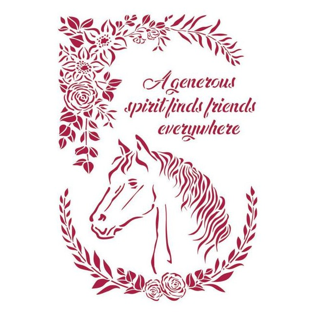 Stencil A4 Romantic Horses Horse with flowers