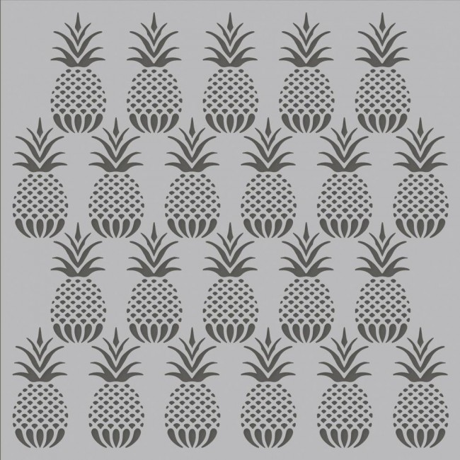 "Stencil 6"" x 6"" Simple Vintage Coastal Pineapples"