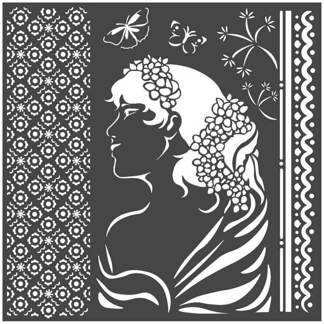 "Stencil 7"" x 7"" Hortensia Lady Side"