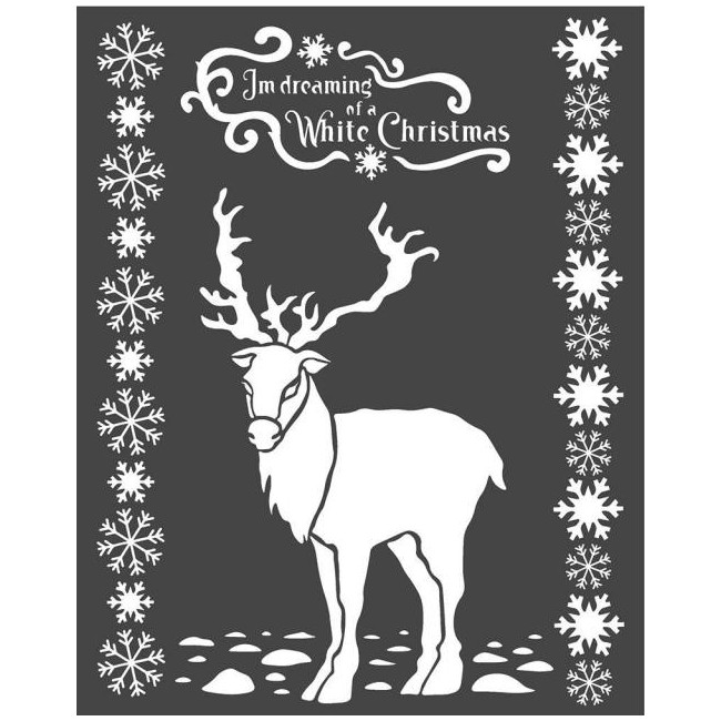 Stencil grueso Winter Tales White Christmas Deer