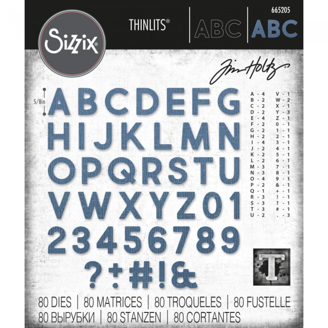 Troquel Thinlits Alphanumeric Bold by Tim Holtz
