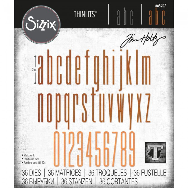 Troquel Thinlits Alphanumeric Stretch Lower & Numbers by Tim Holtz