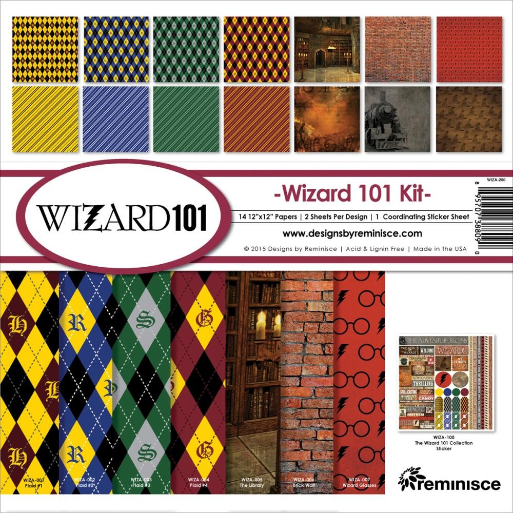 Kit papeles estampados 12x12 Wizard