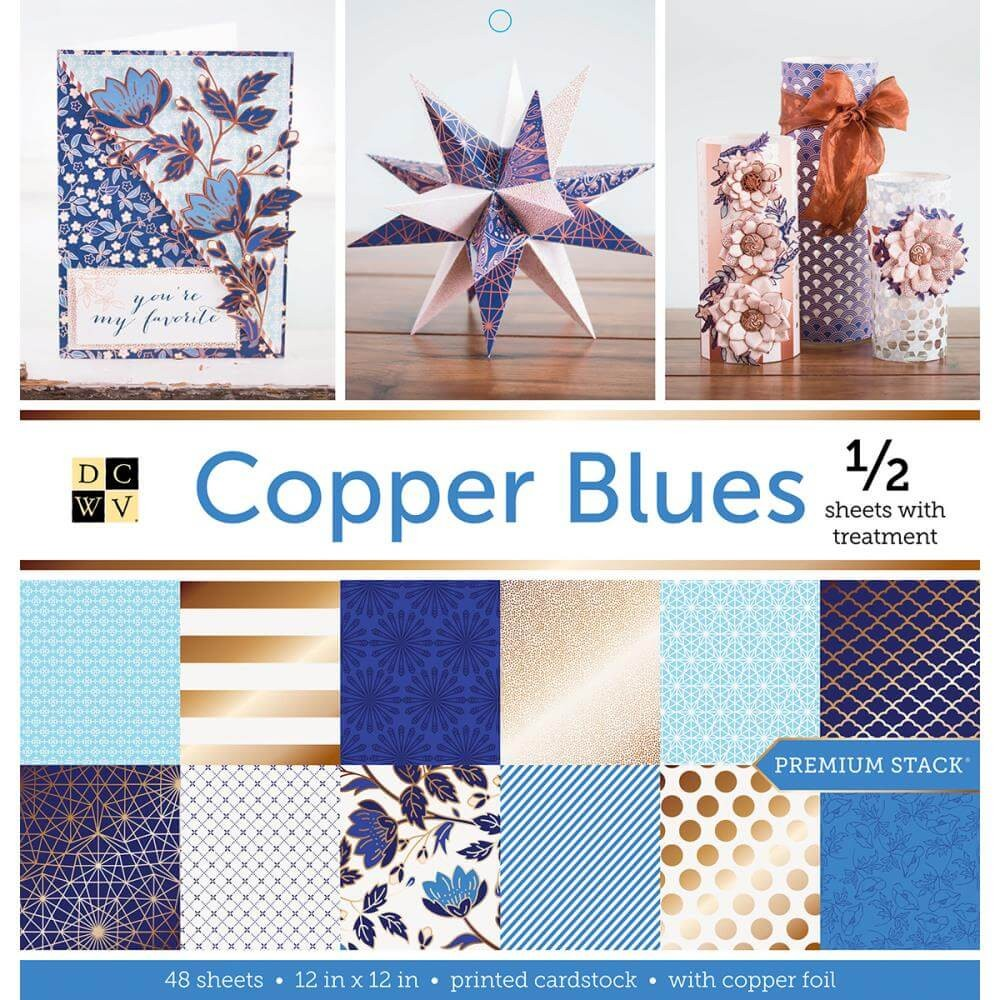 Stack Papeles Estampados 12x12 Copper Blues