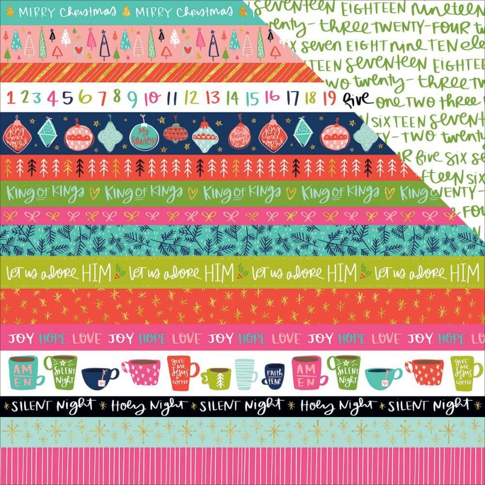Papel Estampado Doble Cara 12x12 - Advent - Borders