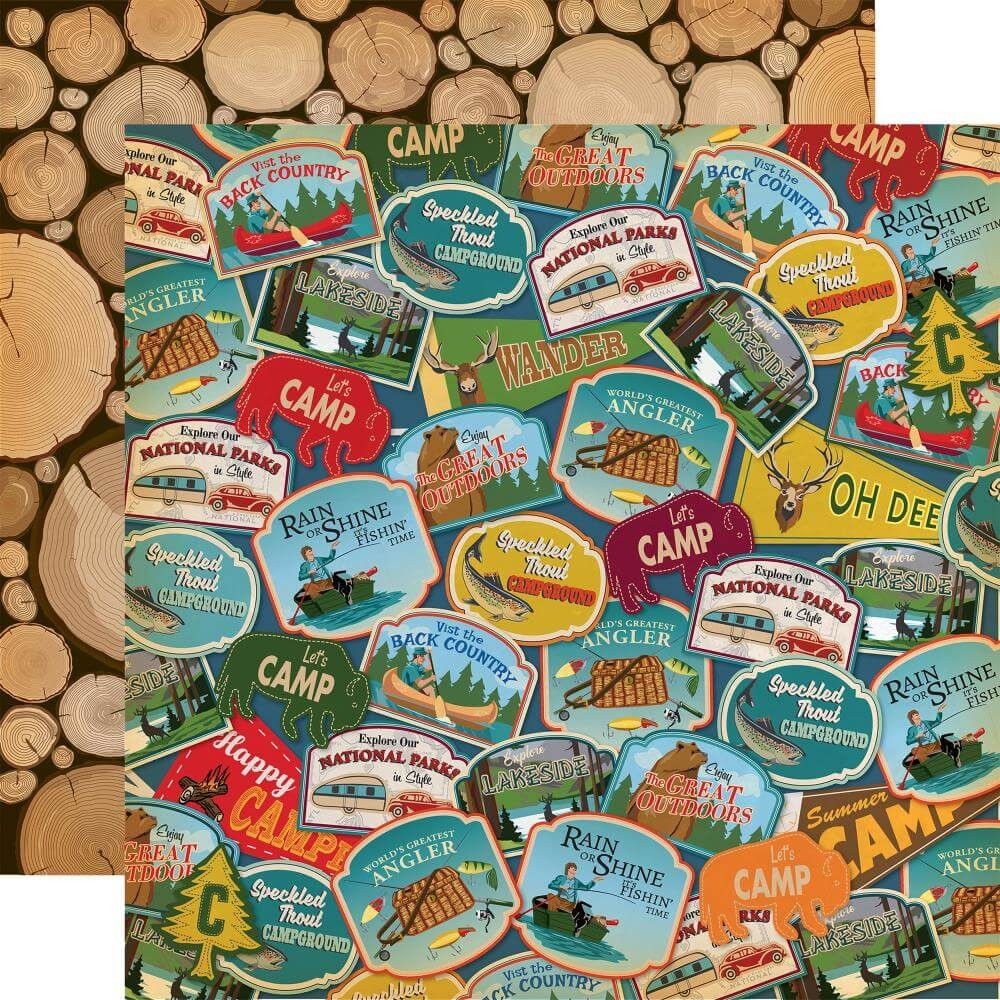 Papel Estampado Doble Cara 12x12 Gone Camping Travel Patches