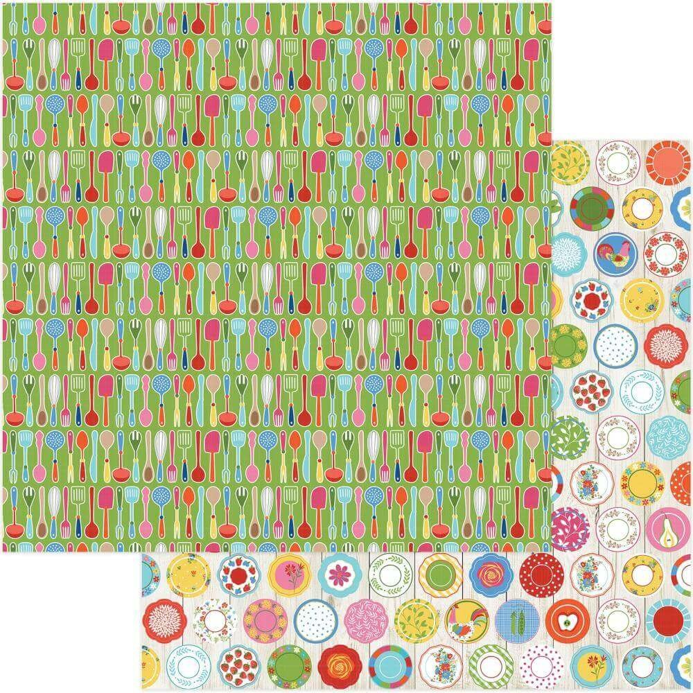 Papel Estampado Doble Cara 12x12 What's Cooking Utensils