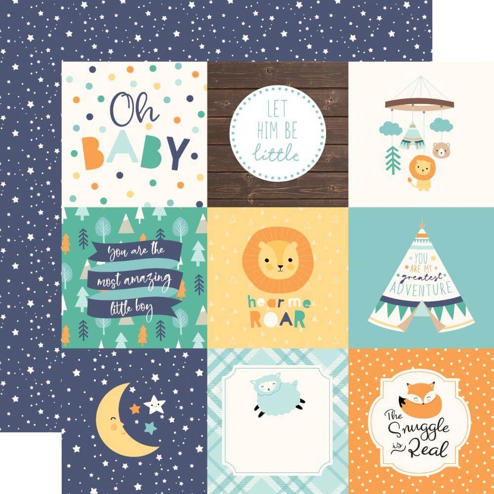 "Papel Estampado Doble Cara 12x12 Hello Baby Boy 4""X4"" Journaling Cards"