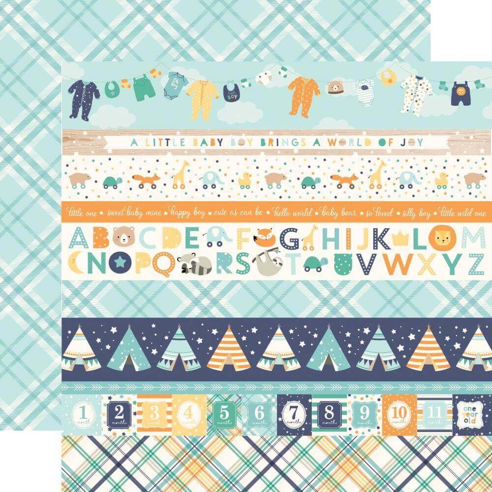 Papel Estampado Doble Cara 12x12 Hello Baby Boy Border Strips