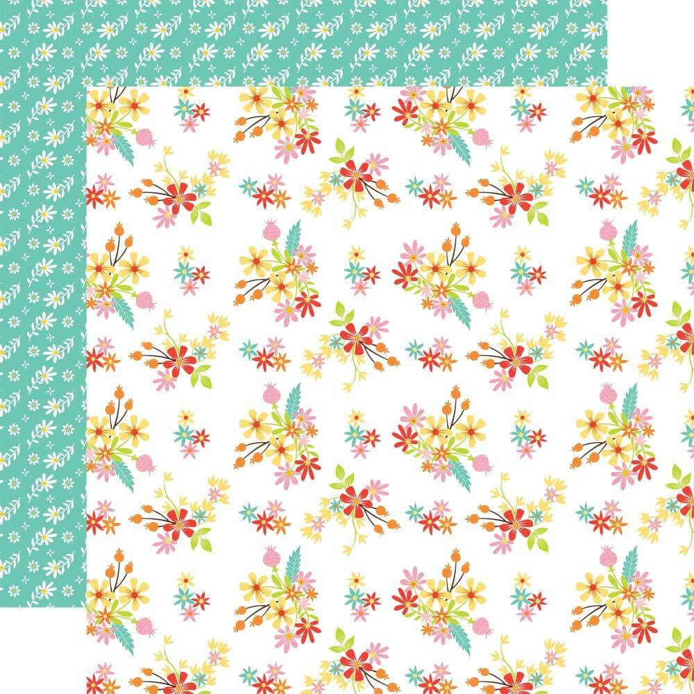 Papel Estampado Doble Cara 12x12 Easter Wishes Easter Flowers
