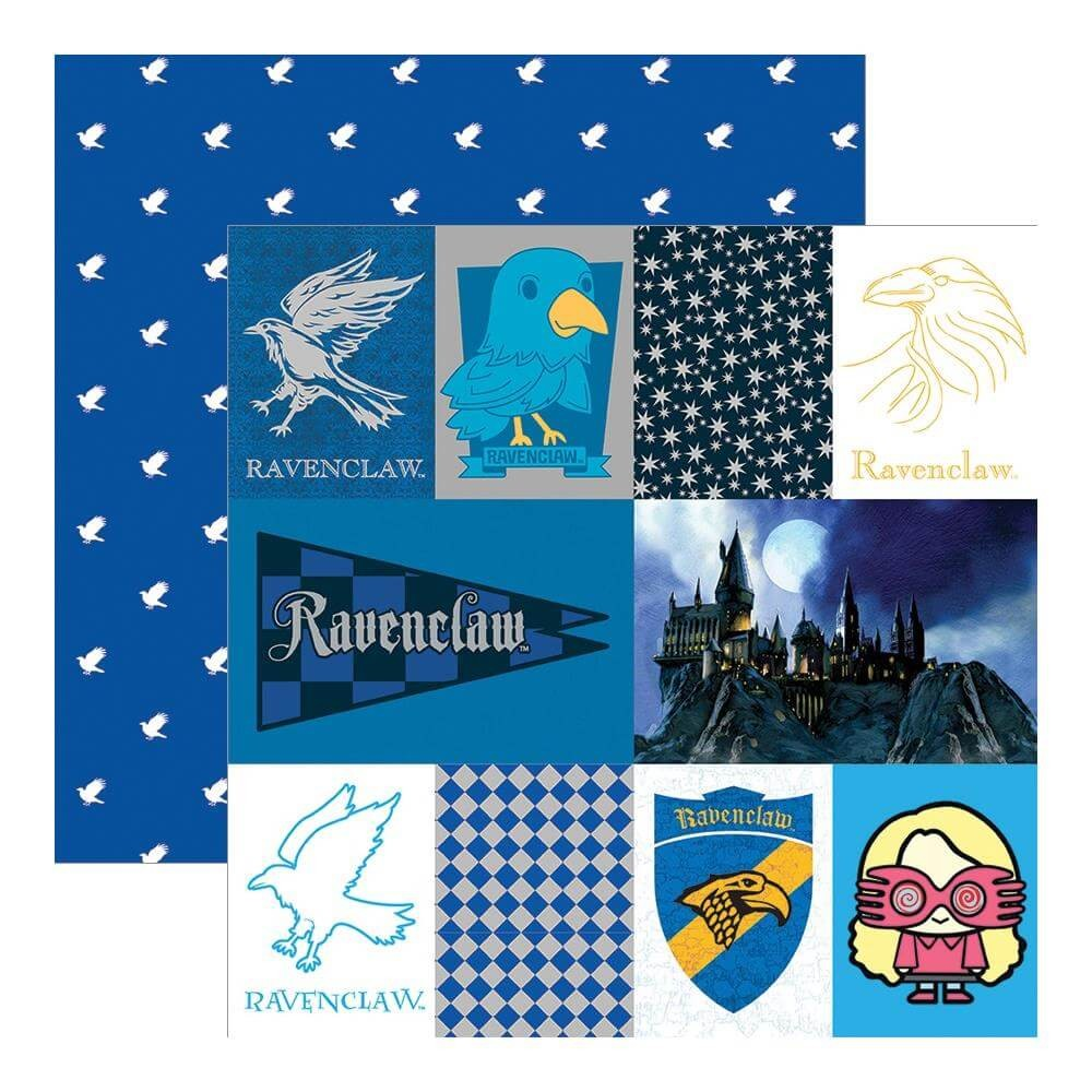 Papel Estampado Doble Cara 12x12 Harry Potter Ravenclaw