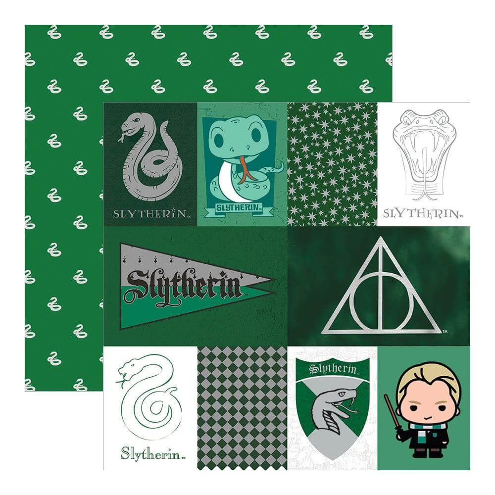 Papel Estampado Doble Cara 12x12 Harry Potter Slytherin House