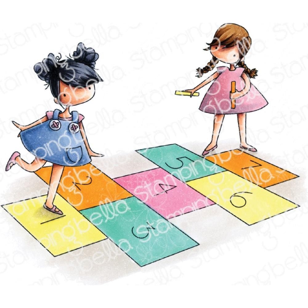 Sello de Caucho Tiny Townies Playing Hopscotch