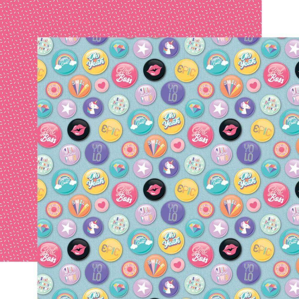 Papel Estampado Doble Cara 12x12 Teen Spirit Girl Epic Buttons