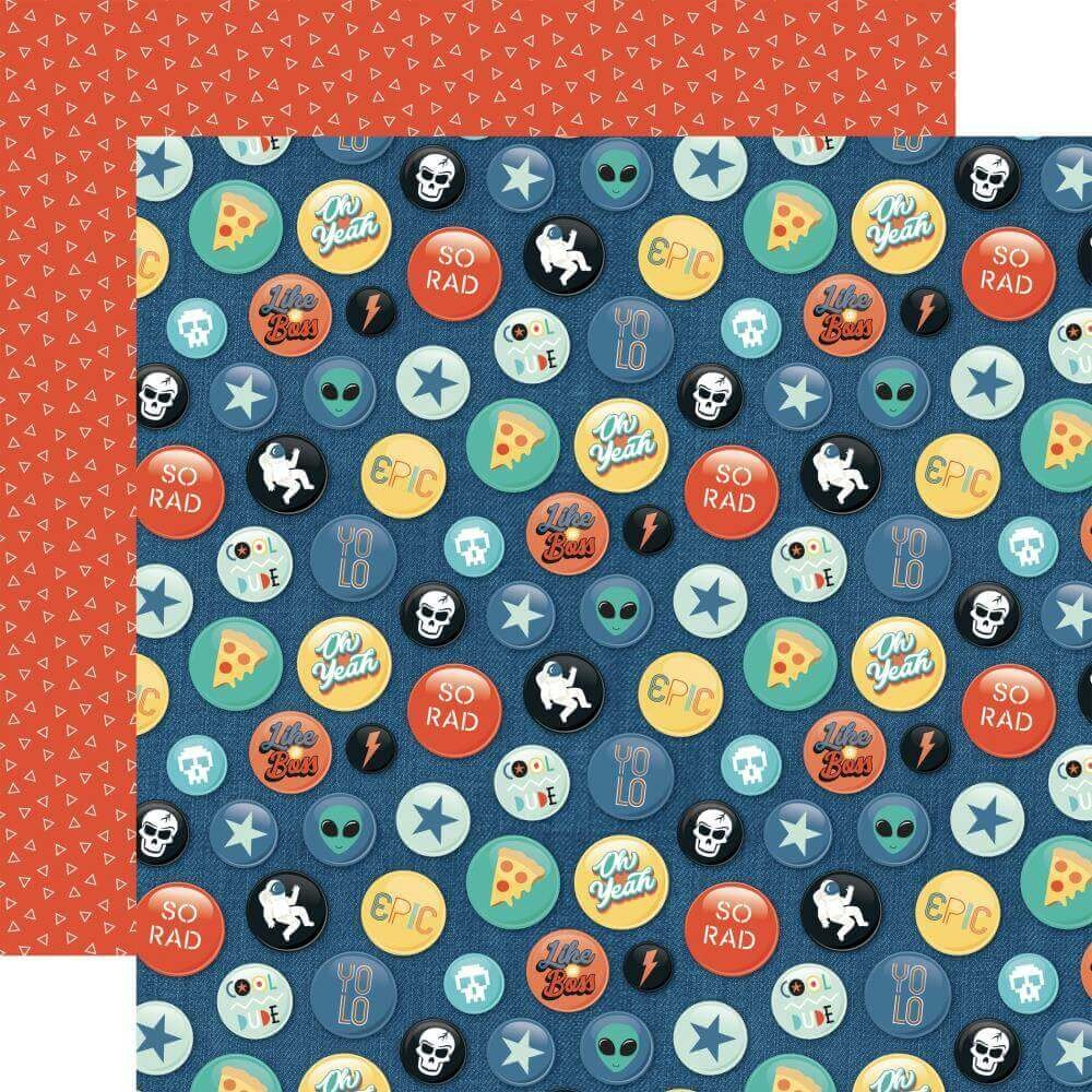 Papel Estampado Doble Cara 12x12 Teen Spirit Boy Rad Buttons