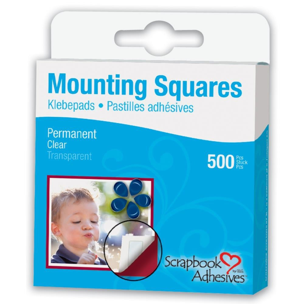 500 Clear Mounting Squares Permanentes