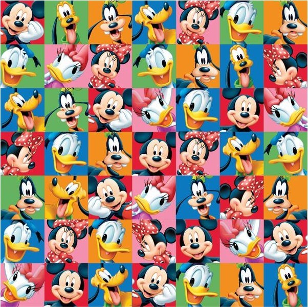 Papel estampado Una cara 12x12-Disney-Mickey & Friends Portraits
