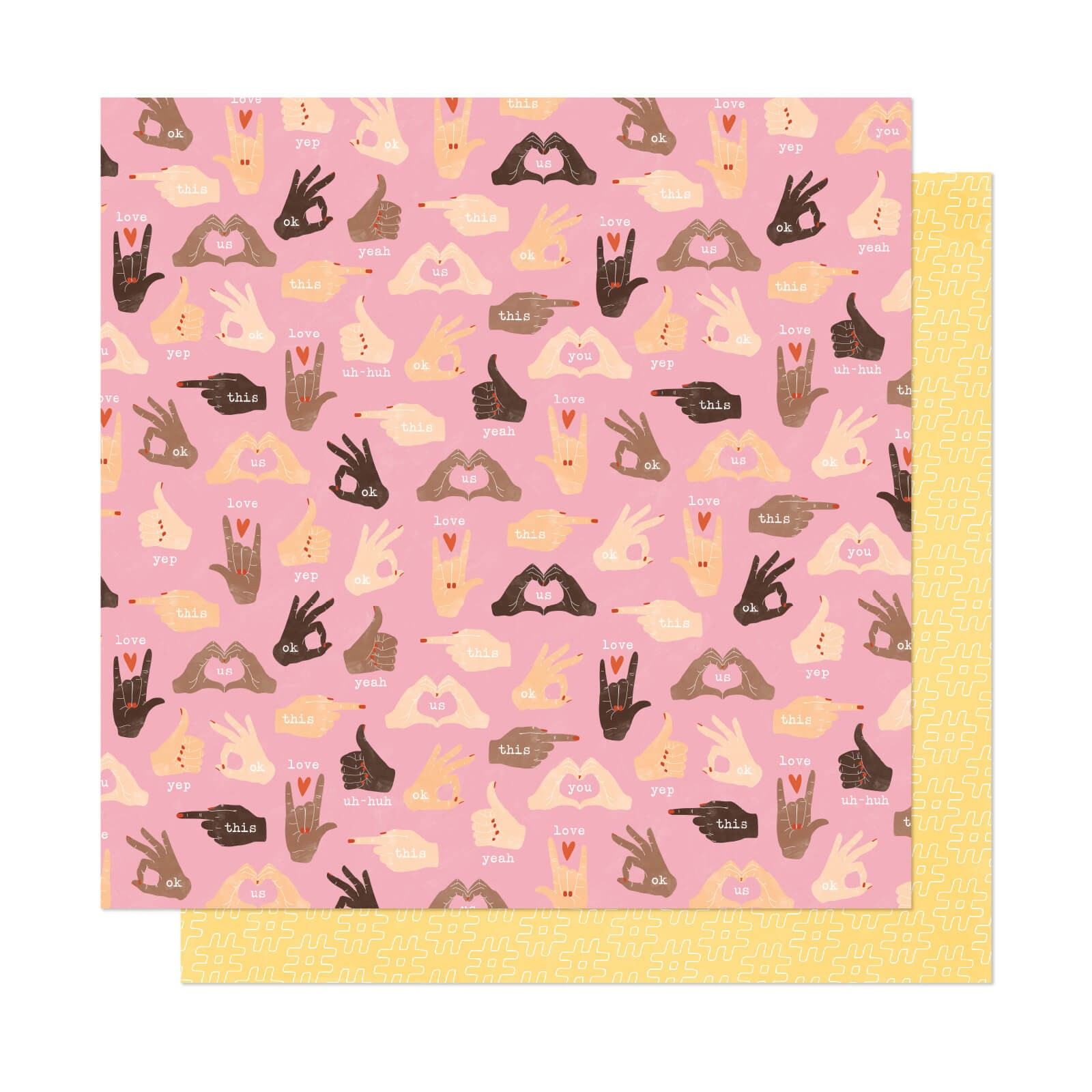 Papel Estampado Doble Cara 12x12 It's All Good Thumbs Up