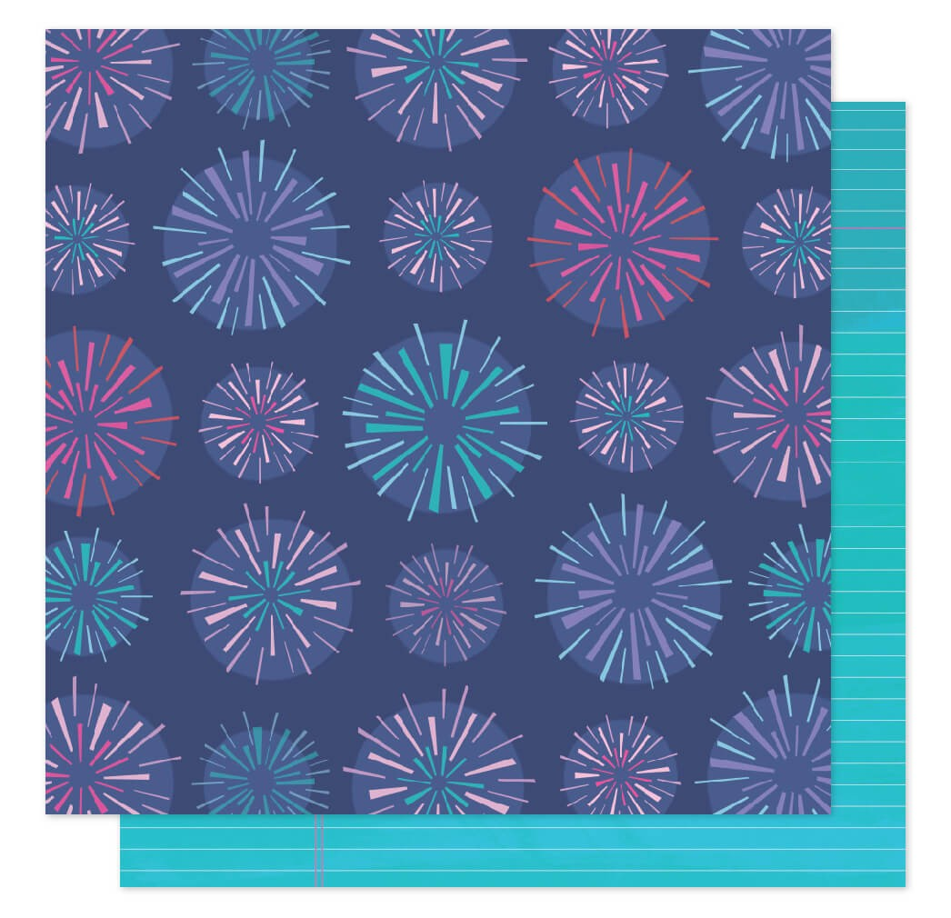 Papel Estampado Doble Cara 12x12 Sparkle City Sparkly Sky