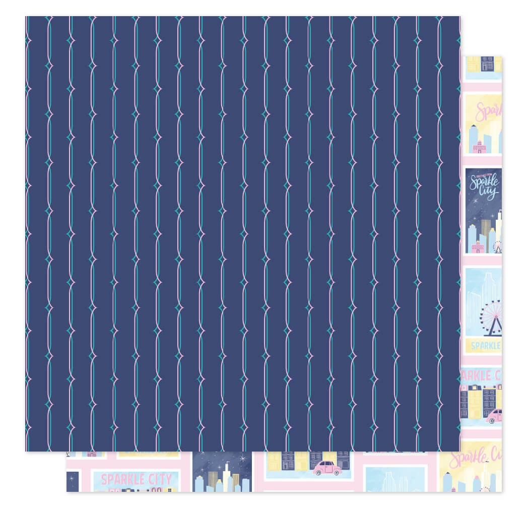 Papel Estampado Doble Cara 12x12 Sparkle City Postcards Home