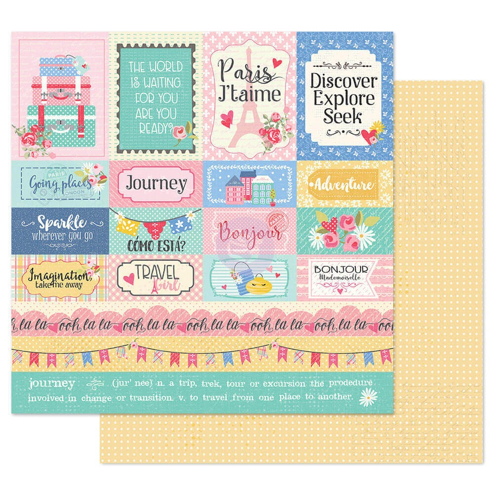Papel Estampado Doble Cara 12x12 Traveling Girl Travel Girl