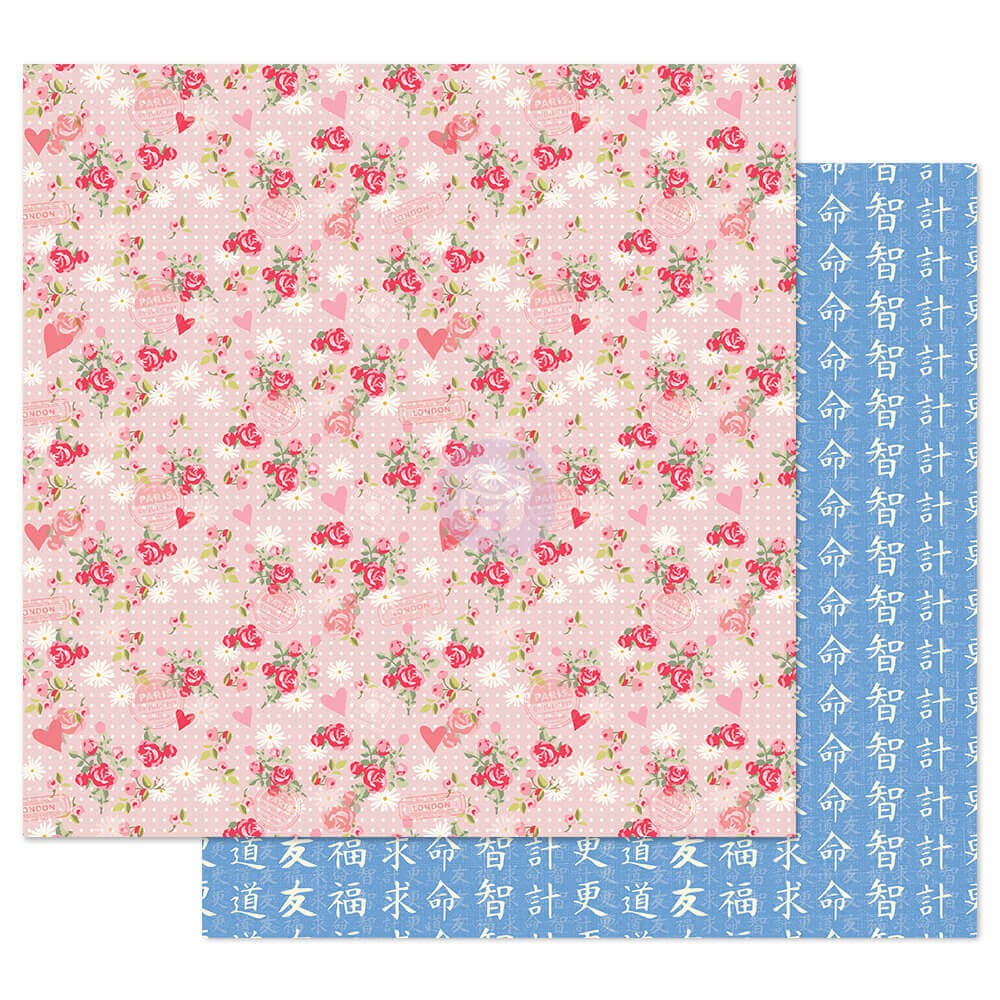 Papel Estampado Doble Cara 12x12 Traveling Girl Smell The Flowers
