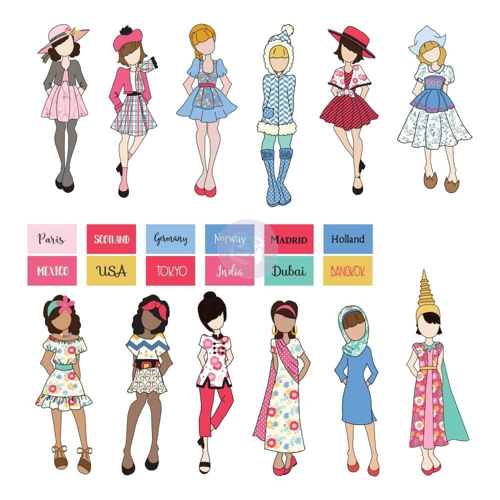Die Cuts Traveling Girl Dolls & Labels