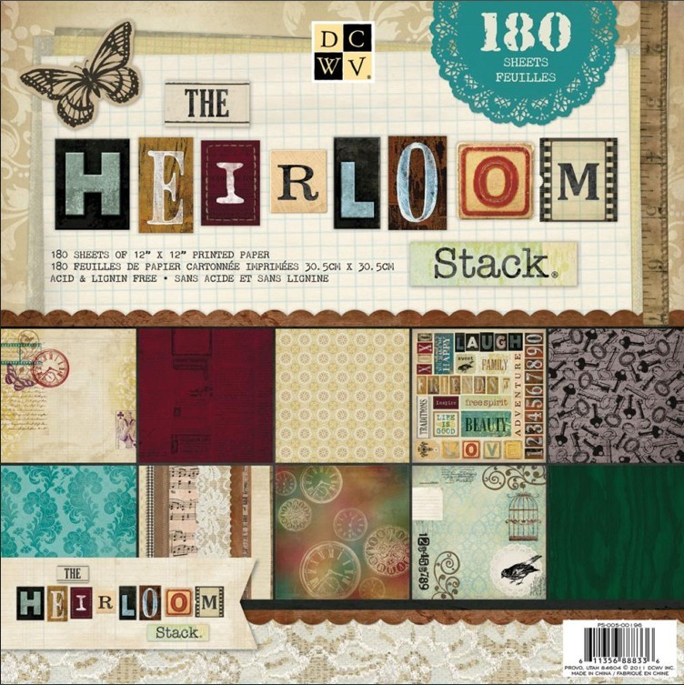 Stack 180 papeles estampados 12x12 The Heirloom