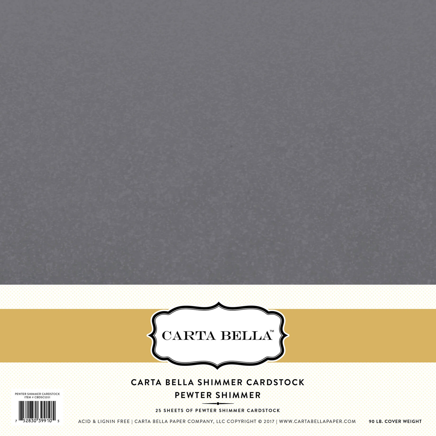 Cartulina Lisa 12x12 - Shimmer Pewter