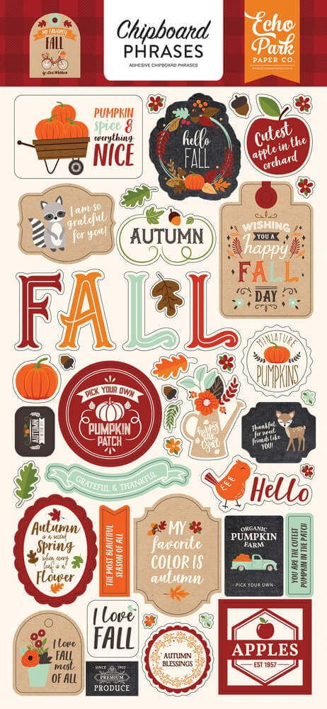Chipboard 6x13 My Favorite Fall Phrases