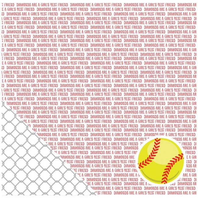 Papel estampado Doble cara 12x12-Basics-Softball Sentiments