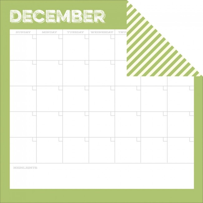 Papel estampado Doble cara 12x12-Life Documented-December Calendar
