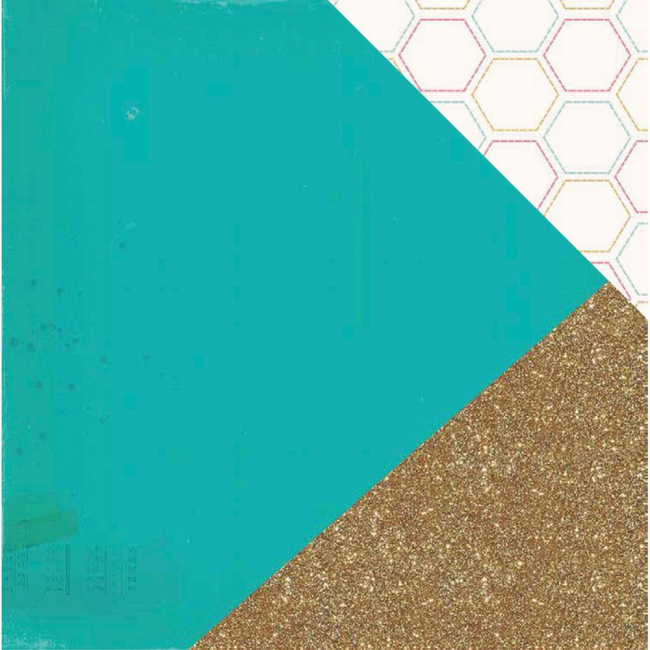 Papel estampado Doble cara 12x12-Craft Market-Sparkle With Gold