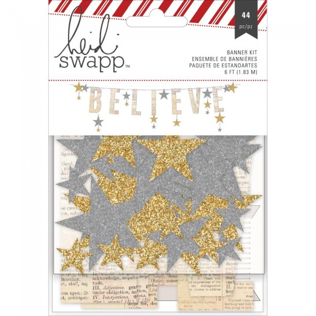 Gold & Silver Glitter Believe Banner Kit Oh What Fun