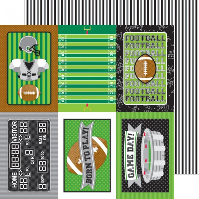 Papel estampado Doble cara 12x12-Touchdown-Sidelines