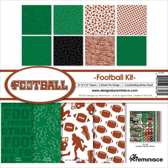 Kit papeles estampados 12x12 Football