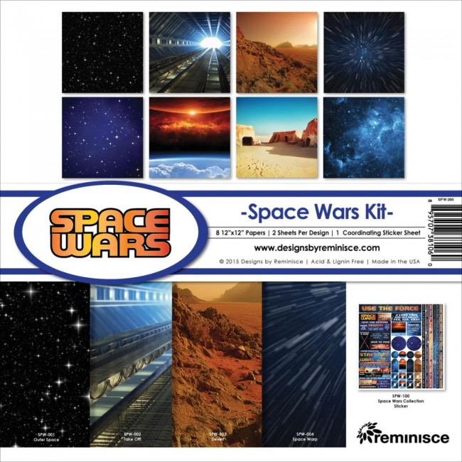Kit papeles estampados 12x12 Space Wars