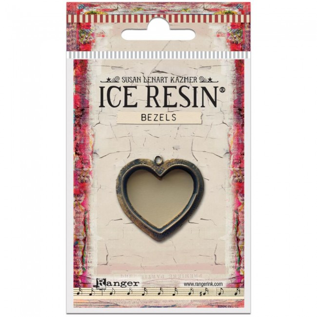 Antique Bronze Medium Heart Bezels Ice Resin