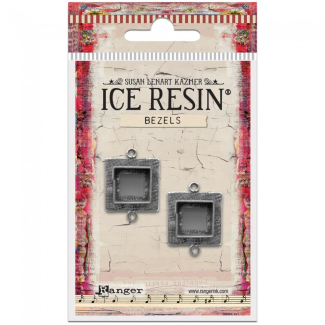 Antique Silver Small Square Bezels Ice Resin