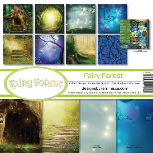Kit papeles estampados 12x12 Fairy Forest