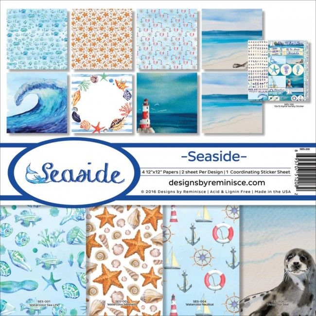 Kit papeles estampados 12x12 Seaside