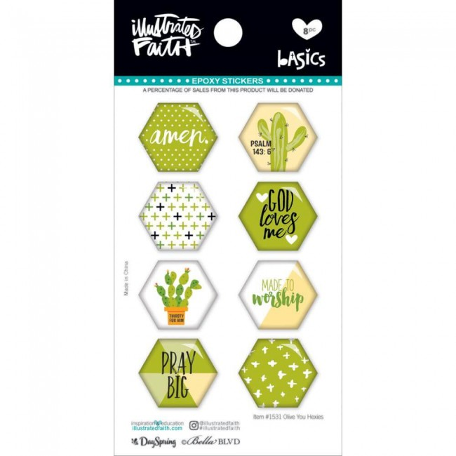 Pegatinas Epoxy Basics   Hexies Olive You