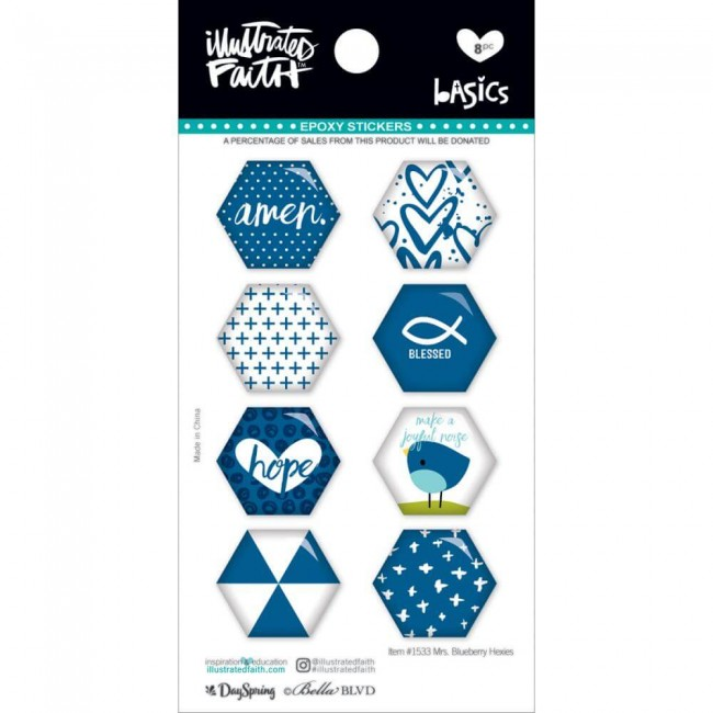 Pegatinas Epoxy Basics   Hexies Mrs. Blueberry