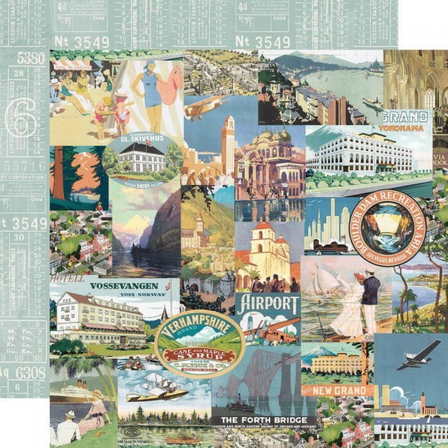 Papel Estampado Doble Cara 12x12 Simple Vintage Traveler Wanderlust