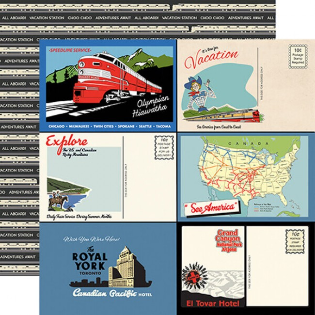Papel Estampado Doble Cara 12x12 All Aboard Postcards