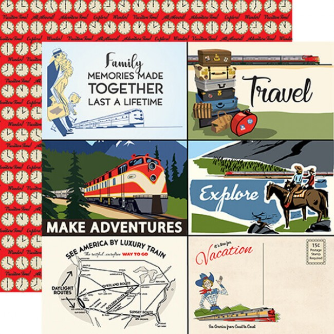 "Papel Estampado Doble Cara 12x12 All Aboard 4""x6"" Journaling Cards"