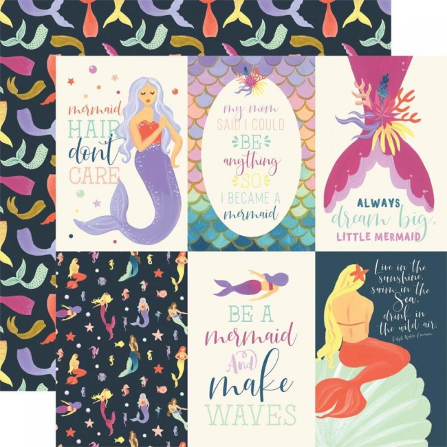 "Papel Estampado Doble Cara 12x12 Mermaid Dreams 4""X6"" Journaling Cards"