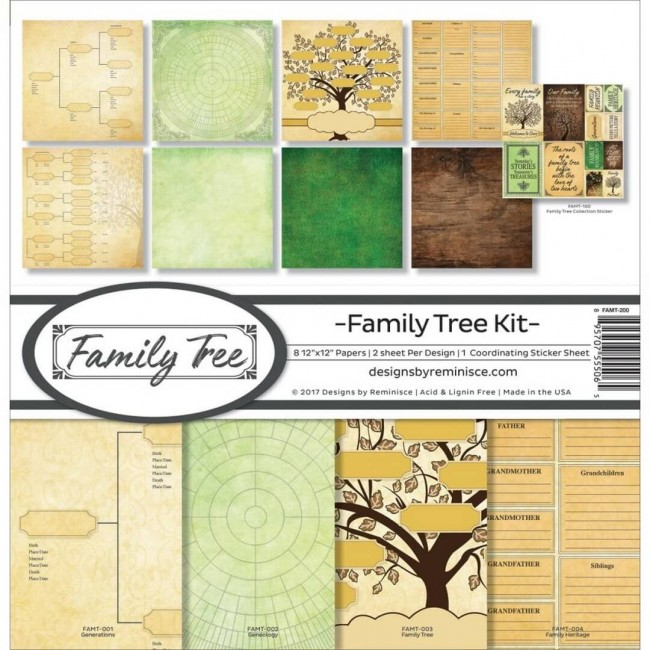 Kit Papeles Estampados 12x12 Family Tree