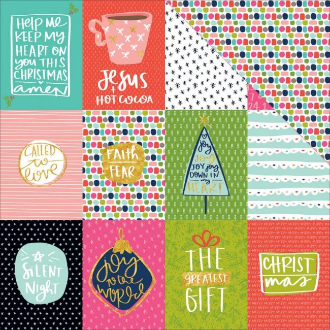 "Papel Estampado Doble Cara 12x12 - Advent - 3""x4"""